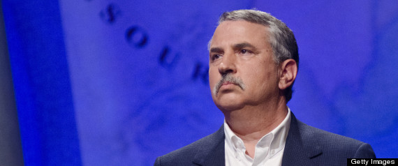 WASHINGTON, DC - APRIL 21: Thomas L. Friedman speaks during a rehearsal before a taping of Jeopardy! Power Players Week at DAR Constitution Hall on April 21, 2012 in Washington, DC. (Photo by Kris Connor/Getty Images)